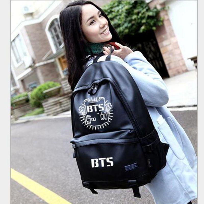 2017 Caliente del envío libre de Corea señora Jackson PU Mochila Mochilas mochila mujeres bolsa de BTS(China (Mainland))