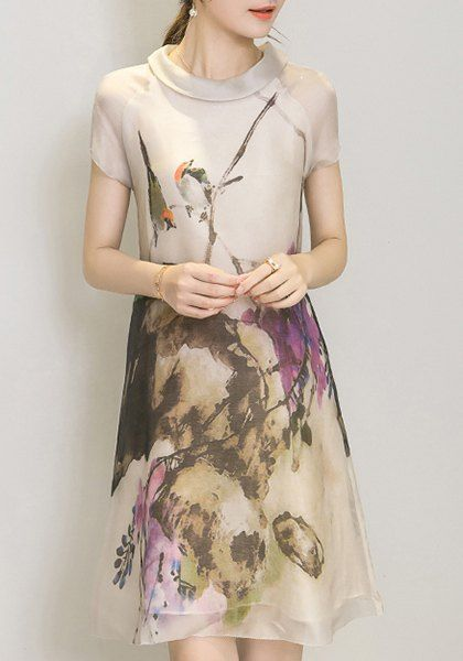 Elegant Short Sleeve Round Neck Oil Painting Print Women's Dress