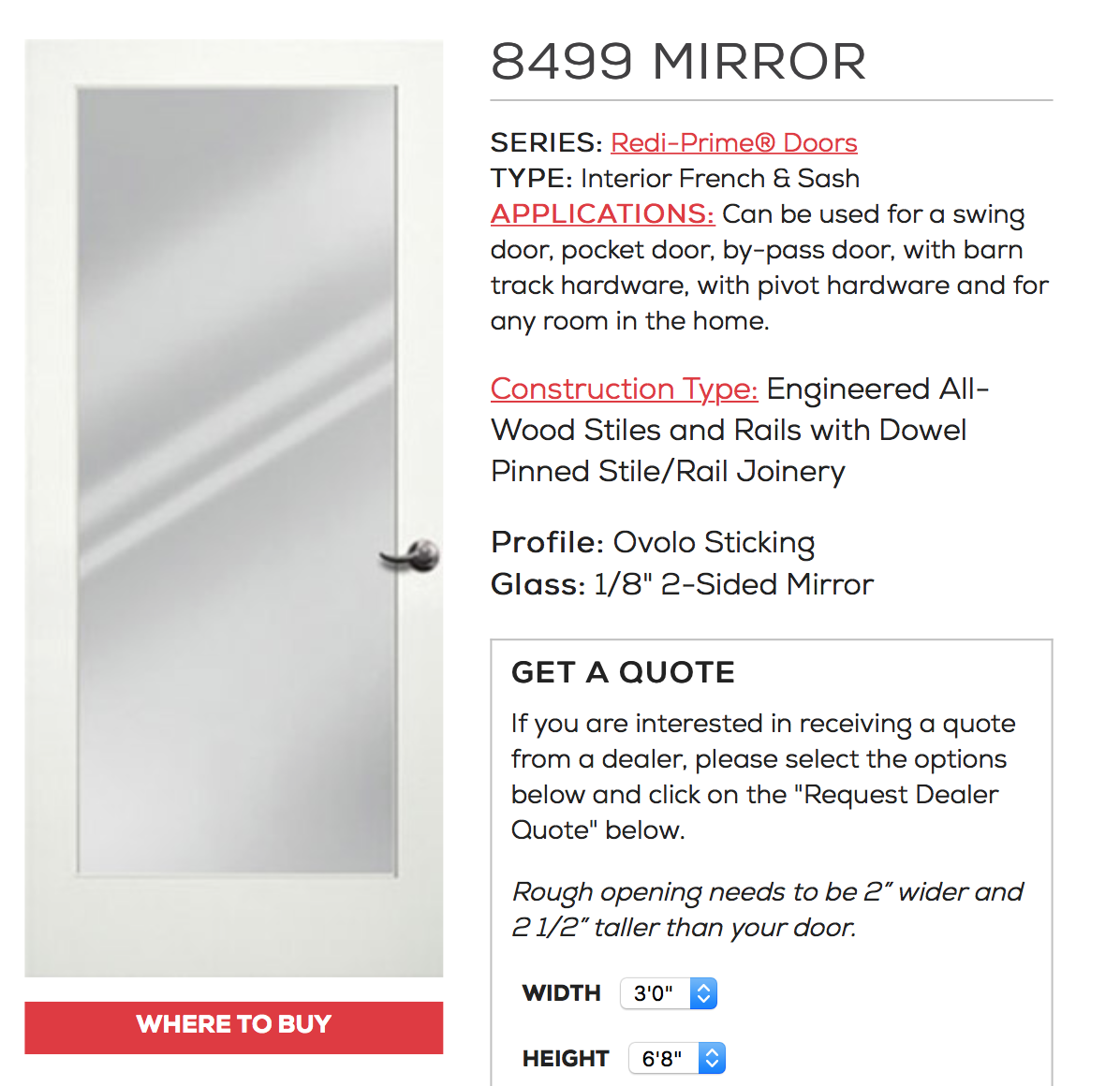 2 sided mirror -to install between master closet and ...