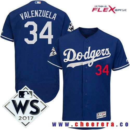 aa26803a0 Men s Los Angeles Dodgers  34 Fernando Valenzuela Royal Blue Alternate 2017  World Series Patch Majestic Flex Base MLB Jersey