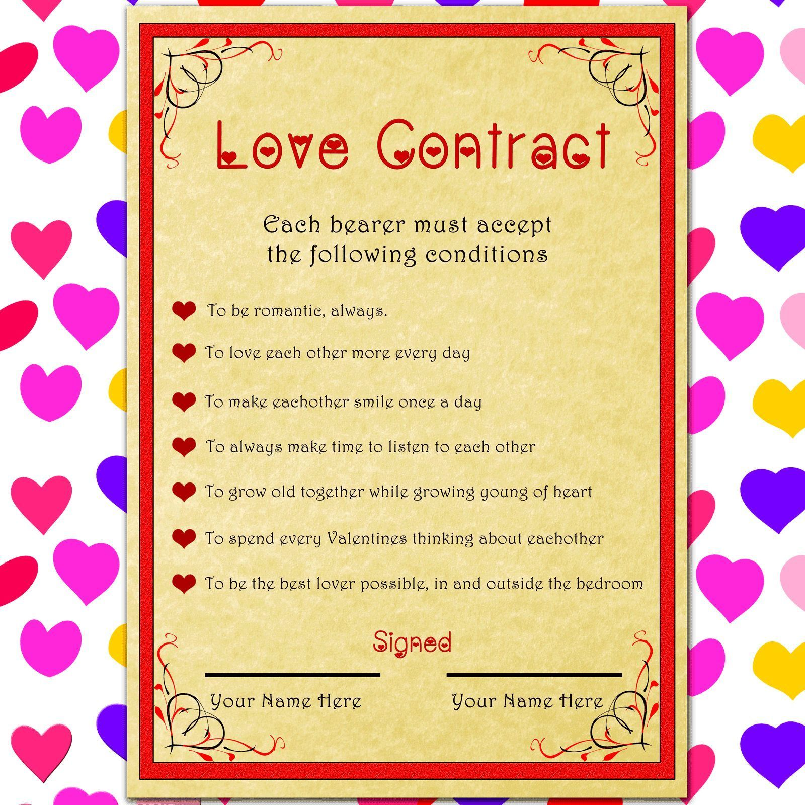 LOVE CONTRACT Anniversary gift for her or him romantic