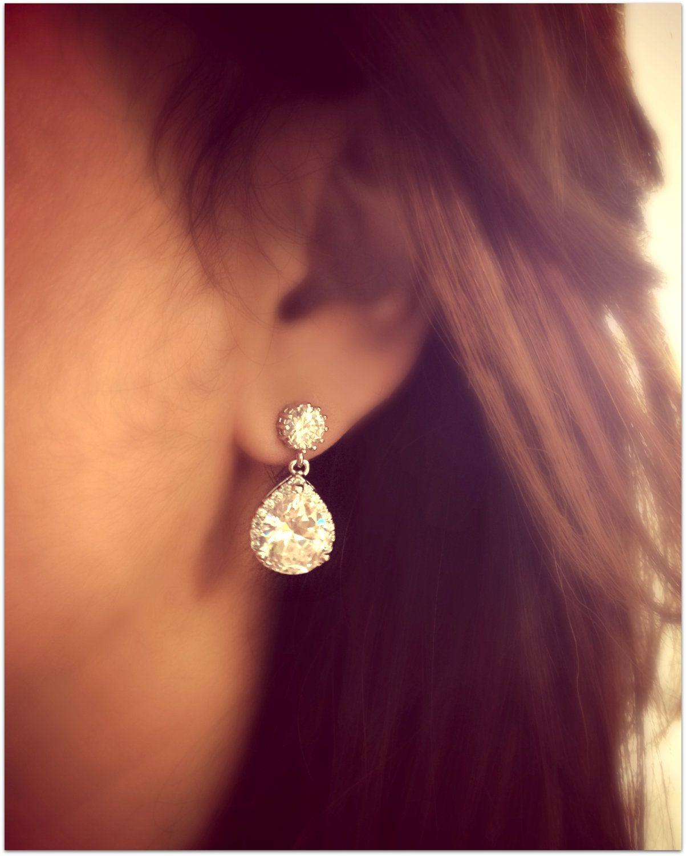 da24ced5c6d White Crystal Wedding Earrings Teardrop Bridal Earrings Cubic ...