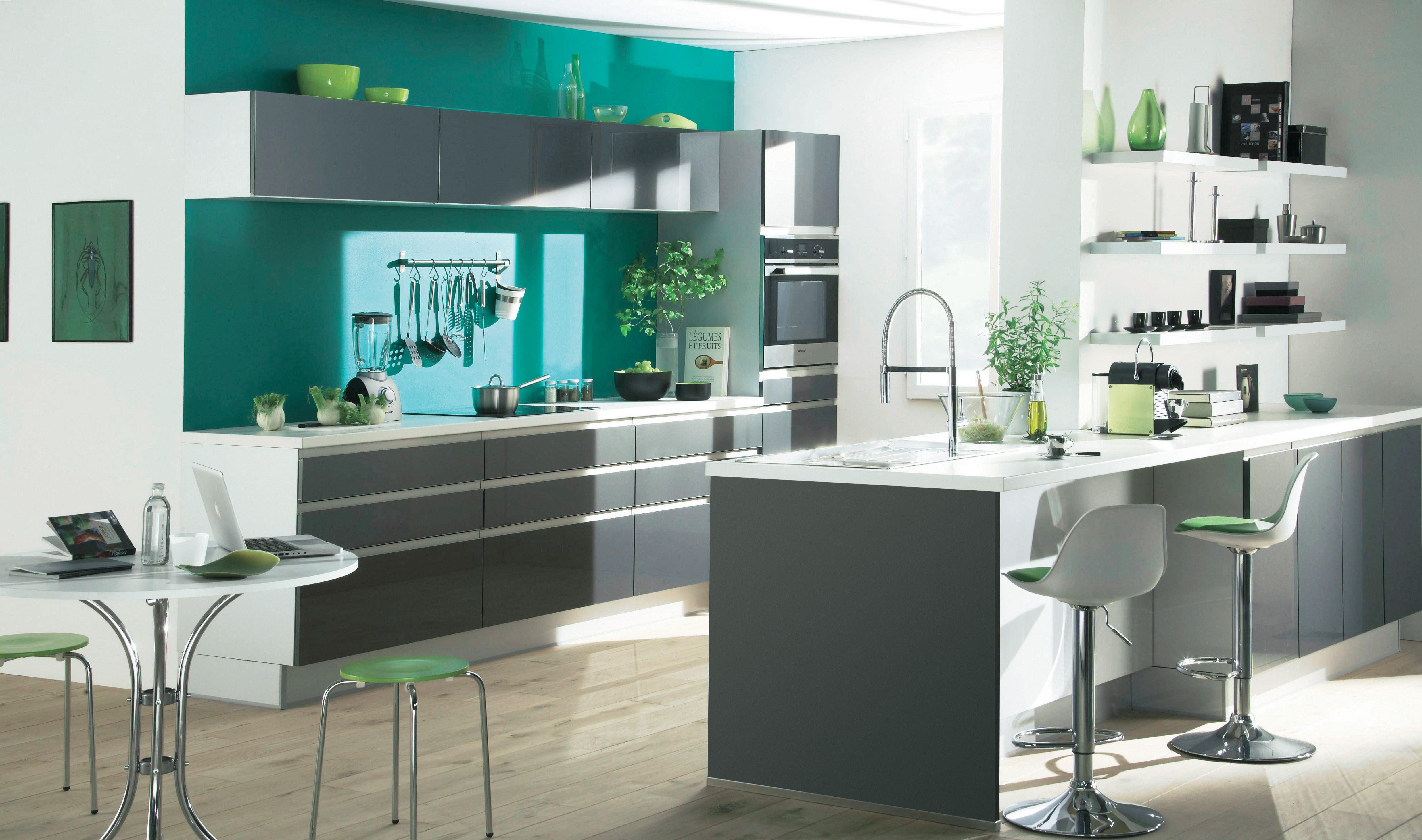 Cuisine design grise laquée Platine | BUT | Villa