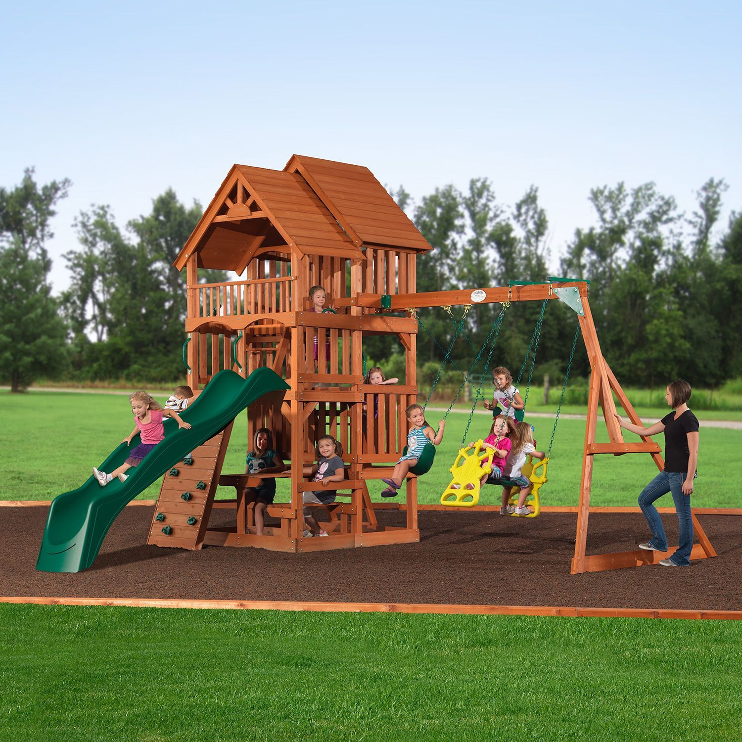 highlander deluxe cedar swing play set with slide