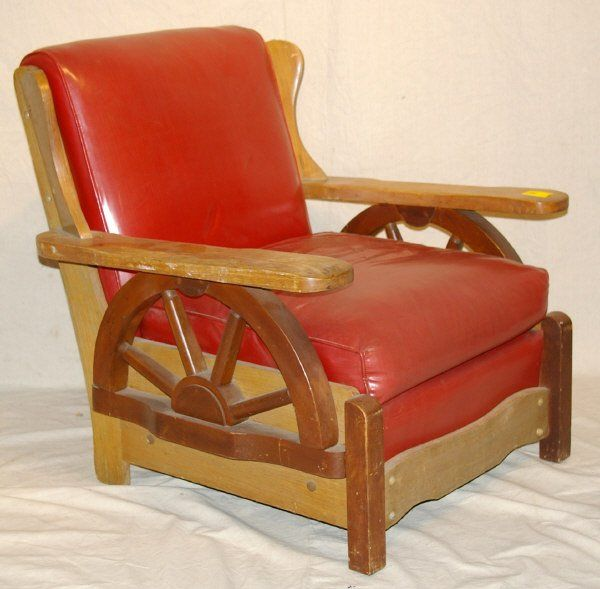 267 Old Western Wagon Wheel Chair Ranch Oak Style Oct 20 2007 Burley Auction Group In Tx Western Furniture Mid Century Leather Chair Ranch Furniture