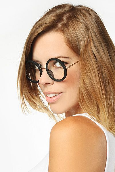 f95970bbe847 Khloe  Oversized Thick Round Clear Glasses - Matte Black - 5268-2 ...