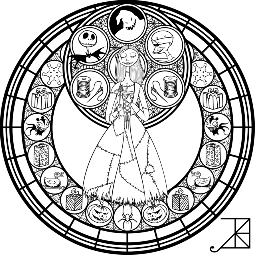Stained Glass: Sally: Remastered -line art- by Akili-Amethyst ...