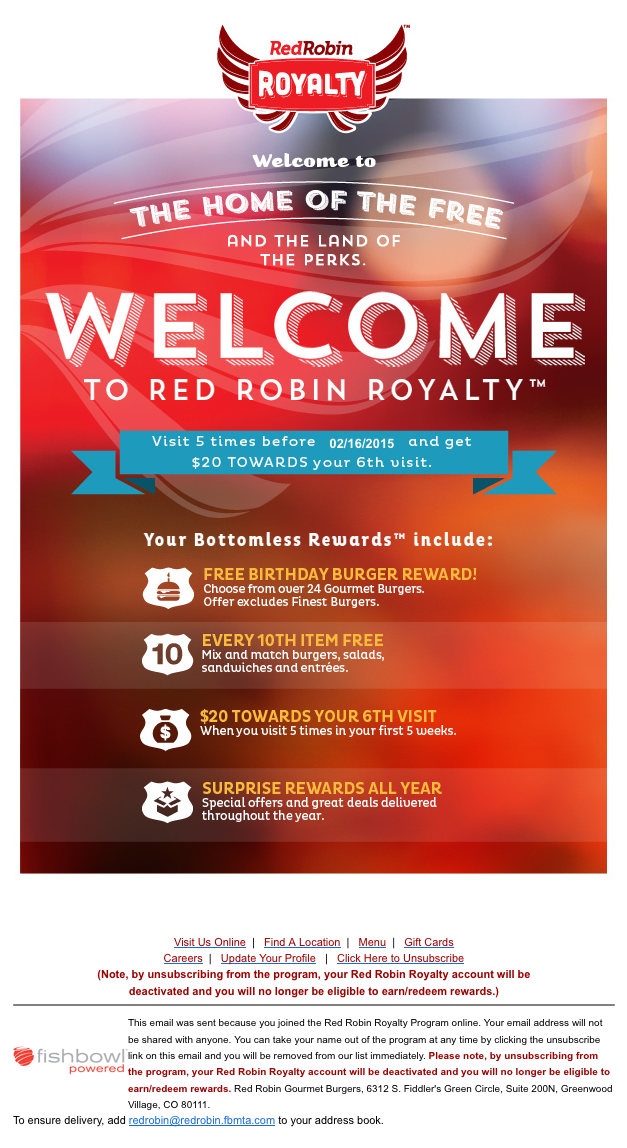 The Red Robin tradition is almost 70 years in the making. At Red Robin, you'll find delicious made-to-order eats, as well as the friendliest staff in the industry.