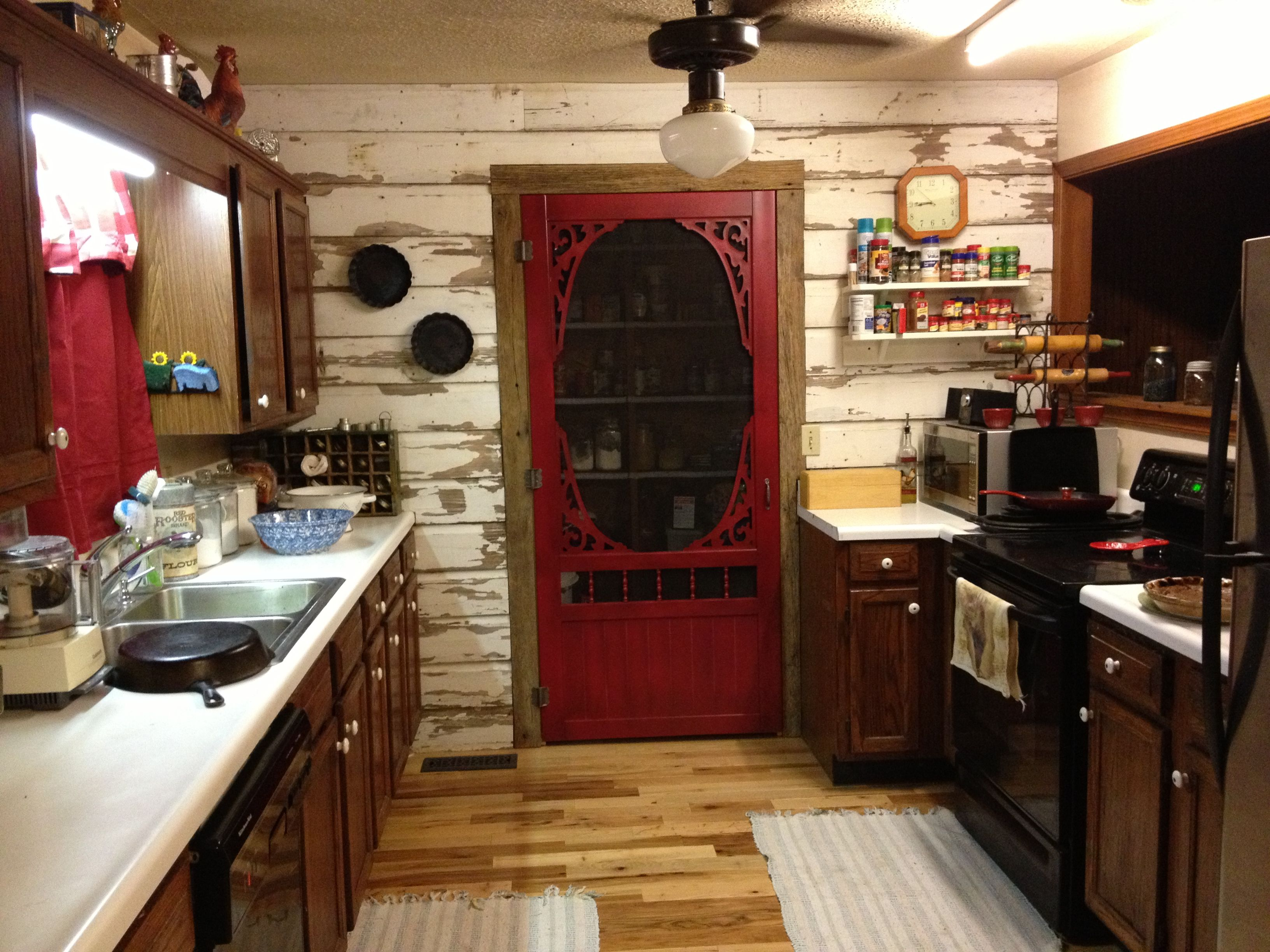 My country kitchen with old wooden siding on one wall from my ...