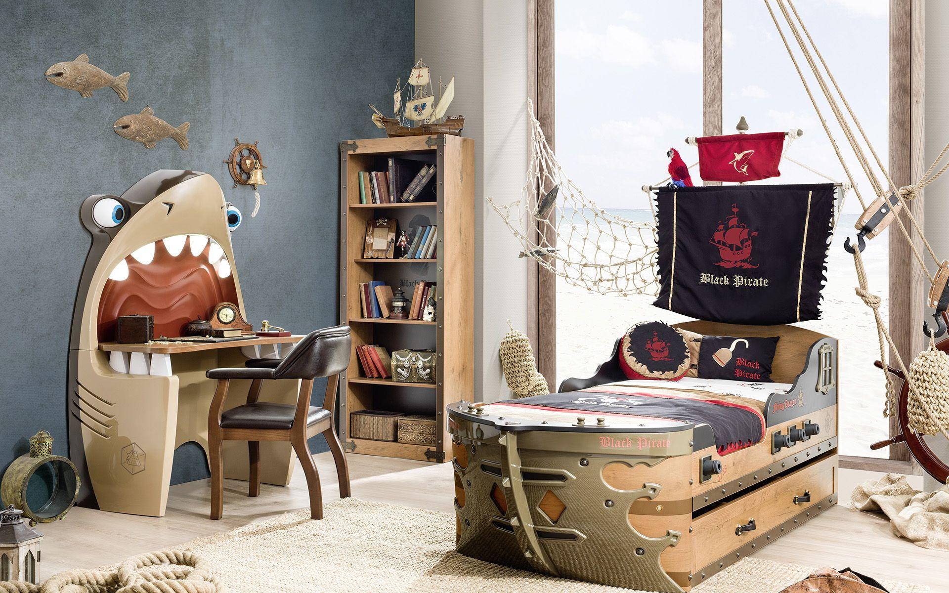 CHAMBRE PIRATE 1 – lit – bureau enfant – chaise – Cilek
