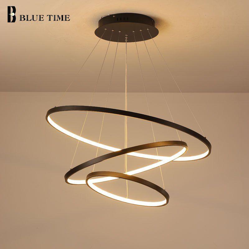 Lampara Colgante Modern Led Chandelier Hanging Lamp Rings Ceiling