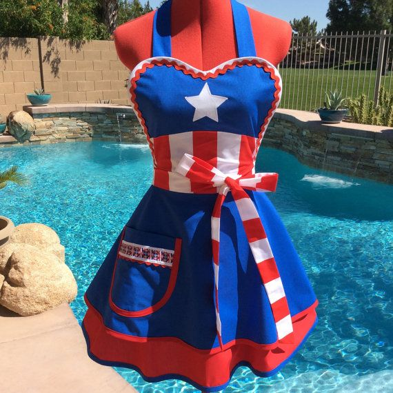 Captain America inspired sassy and chic Sassy Apron made with Kona cotton in blue and red and finished off with red/white stripe sash  Fabric is 100%