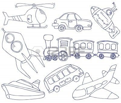 Trasport Doodle Bus Plane Boat Train How To Draw Hands Doodles Doodle Drawings