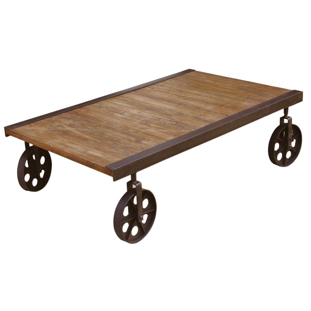 Occa Rustic Cart Coffee Table On Wheels Home Co Uk