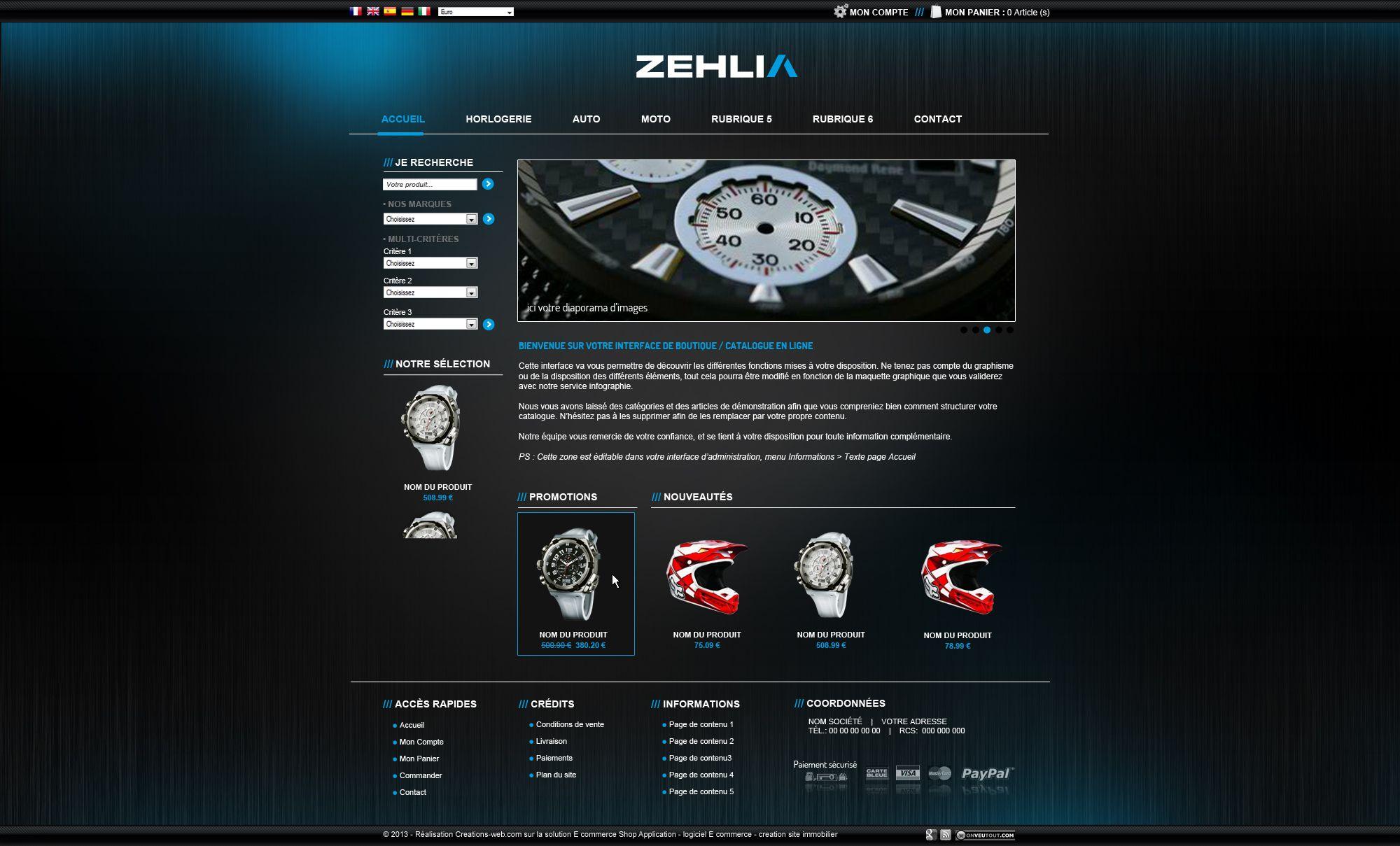 Maquette réalisée pour le site zehlia.com