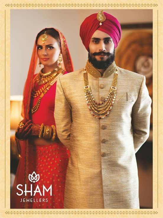 c107d7f8cb Indian Groom ~ Sham Jewellers, Chd. Sherwani For Men Wedding, Sikh Wedding,