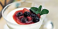 Panna cotta, a molded chilled dessert popular throughout Italy, is easy to make and can be prepared in advance. It looks and tastes wonderful with ripe red fruits such as raspberries, strawberries, or sweet cherries.