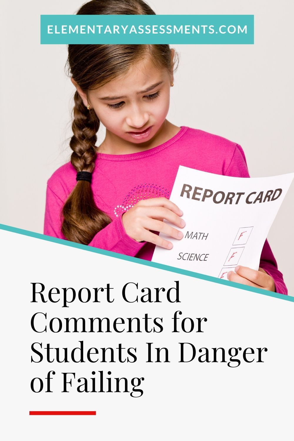 Report card comments for students in danger of failing in