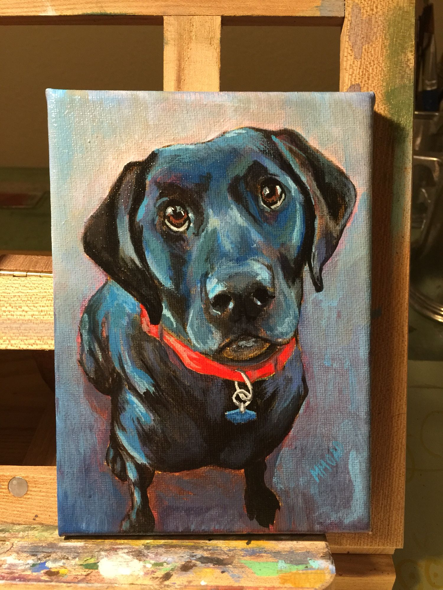 Black lab painting 5x7 on canvas by