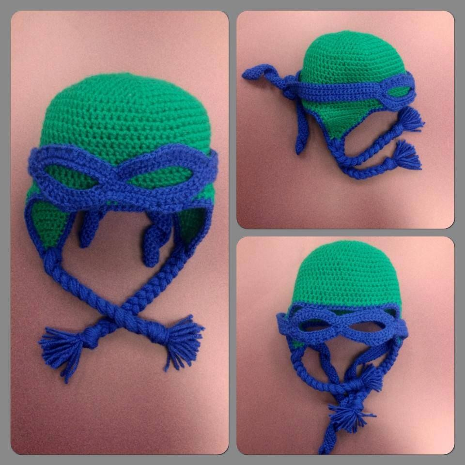 $20+S&H S-06  Ninja Turtles Earflap hat!  The mask flips up or down and ties in the back just like the Turtles masks!  Available in Blue, Red, Purple, or Orange! Check out the rest of our stuff on Facebook!