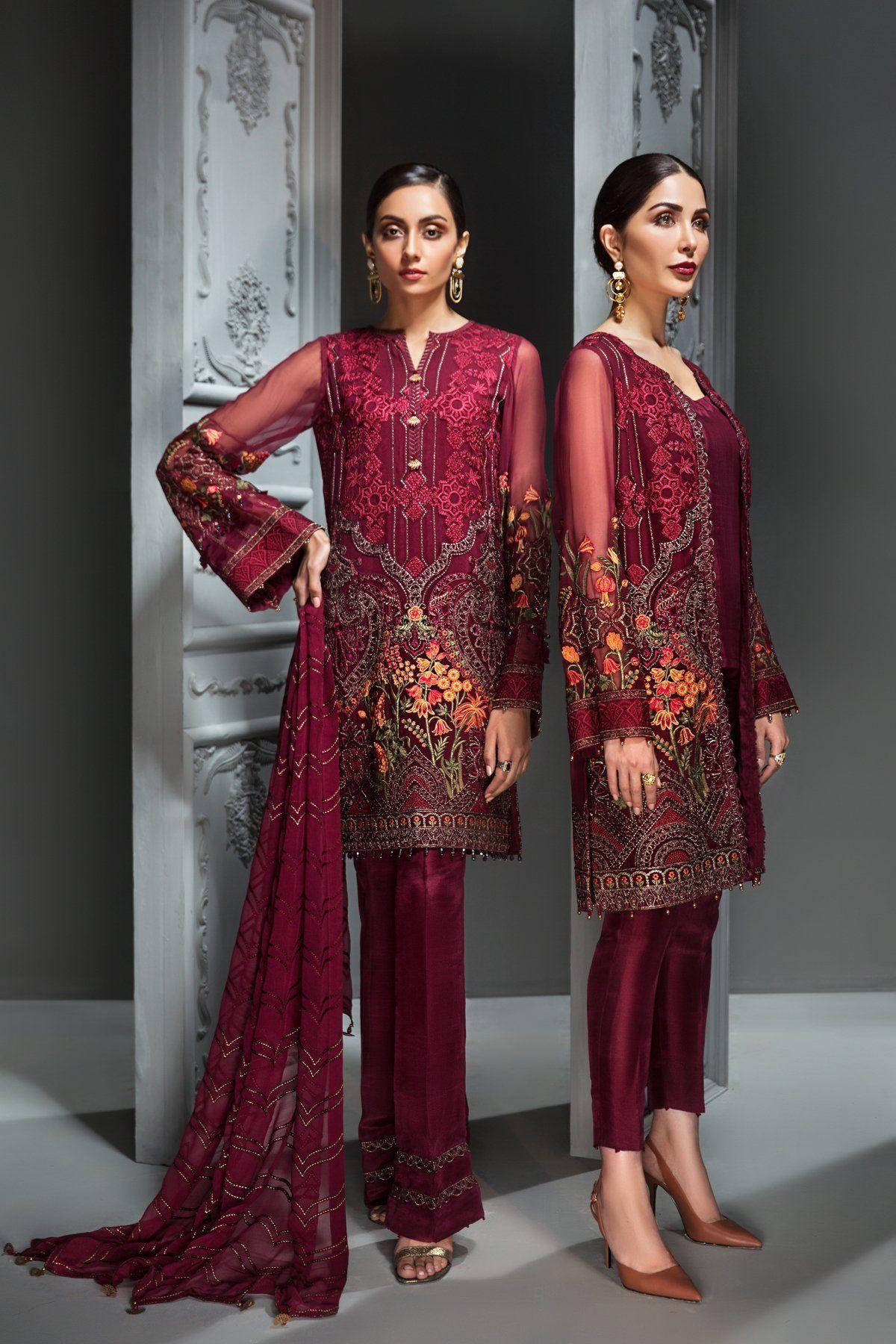 Elegant Pakistani Chiffon Party Dress in Maroon Color