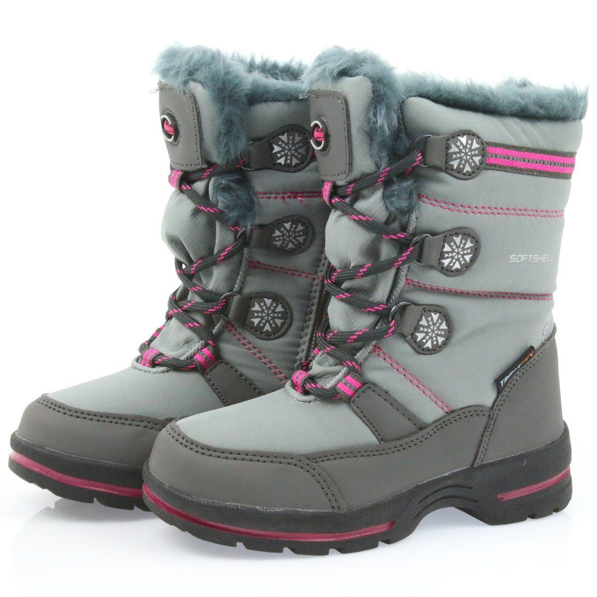 American Club American Buty Zimowe Z Membrana 702sb Szare Rozowe Boots Shoes Winter Boot