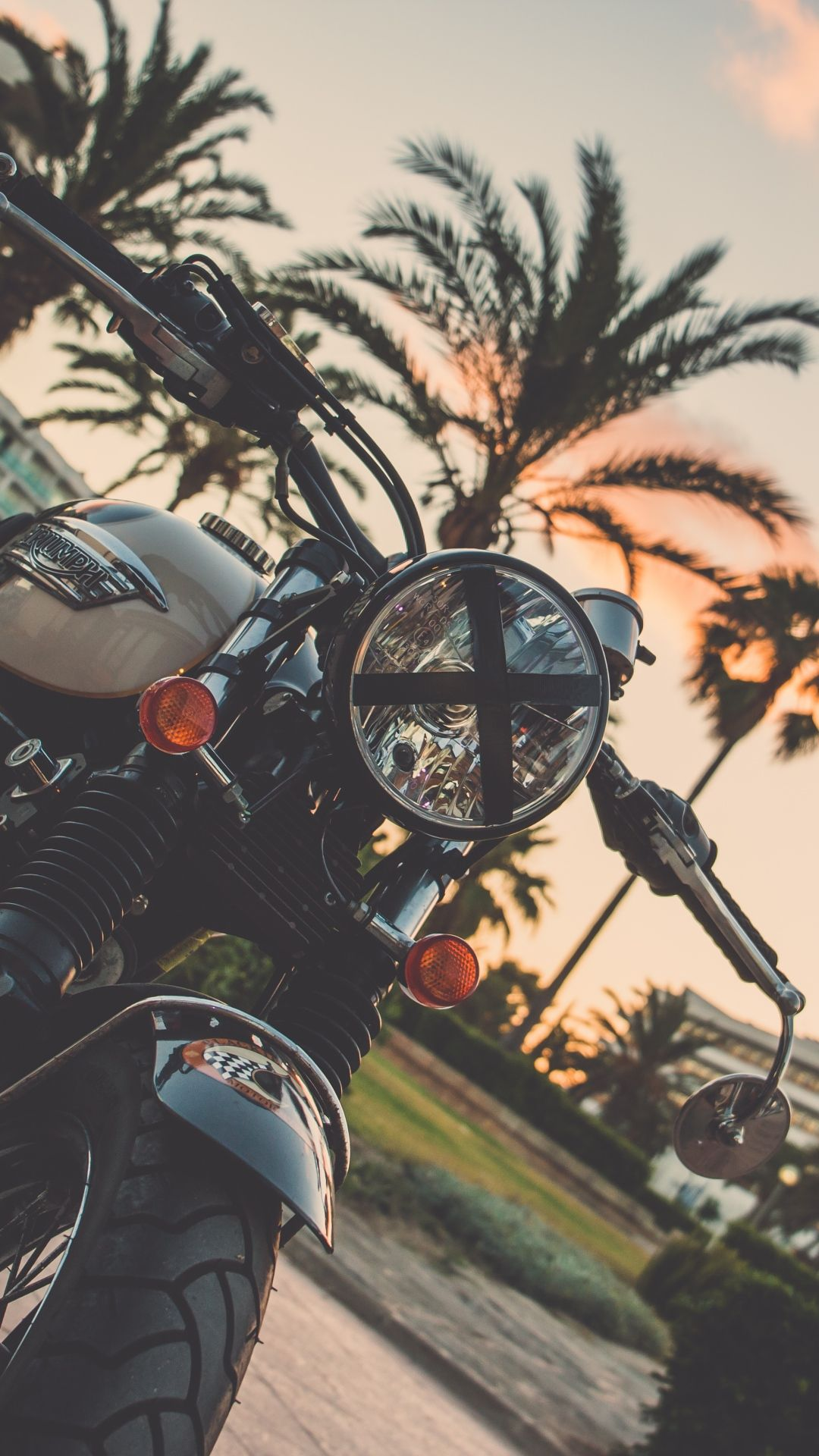 Download Wallpaper 1080x1920 Motorcycle Bike Palm Tree Sony