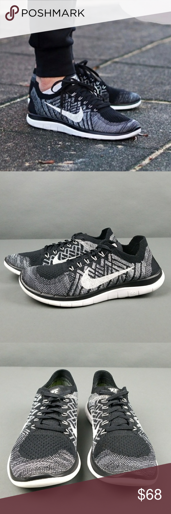 nike free 4.0 flyknit women's running shoes oreo black white