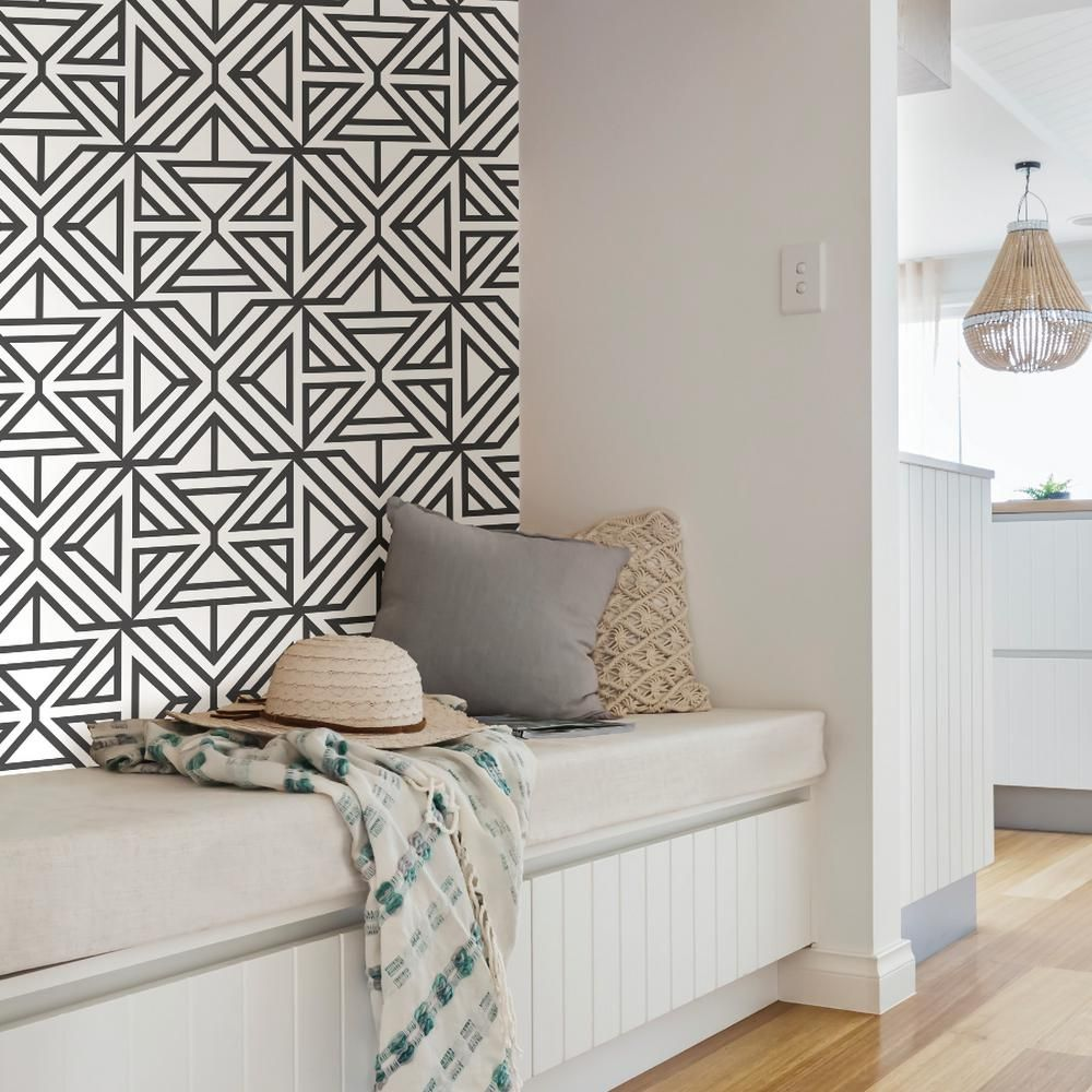 NuWallpaper Black Linear Peel and Stick Wallpaper NUS3499