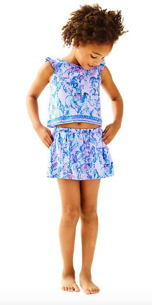 85c839ed6d5567 The Lilly Pulitzer Girls Opal Set in Fruity Monkey merges looks and  practicality in this adorable flutter sleeve crop top paired with pull-on  skort.