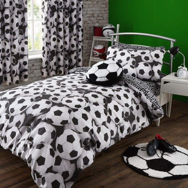 It S A Goal Black White Football Duvet Cover Catherine Lansfield Reversible Bedding That Fits Perfectly For Themed Bedroom