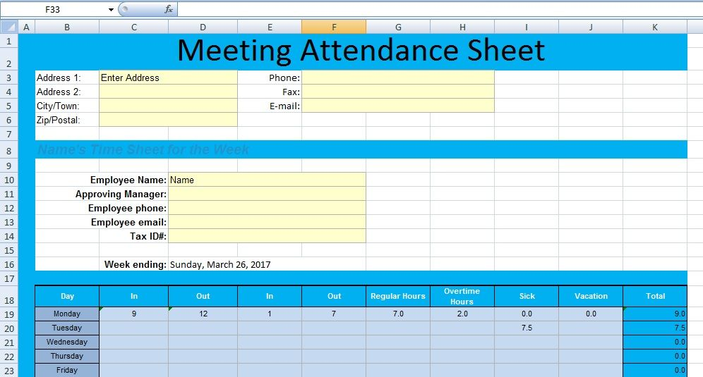 Get Meeting Attendance Spreadsheet Format u2013 Excel Spreadsheet - time sheet templates