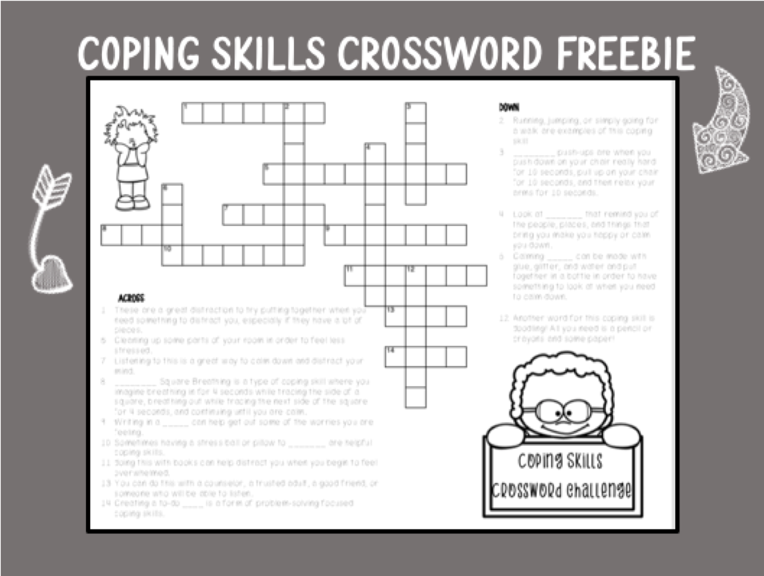 Coping Skills Crossword Challenge Freebie