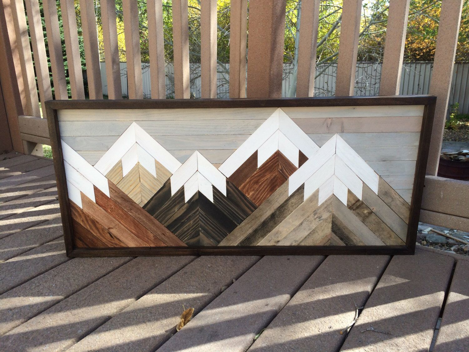 Reclaimed Rustic Wood Wall Art Mountain Scene Mantel