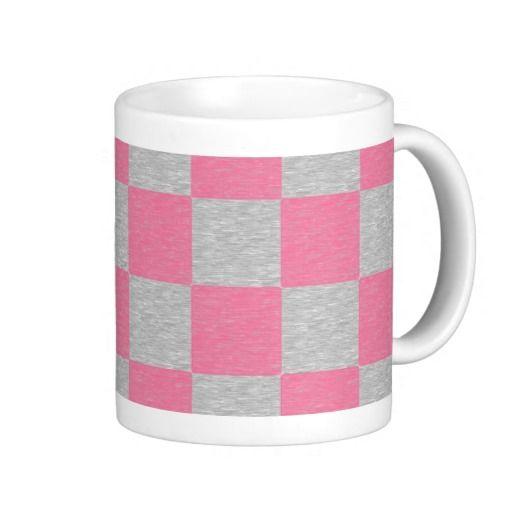 Pink and Gray Checkered Mug