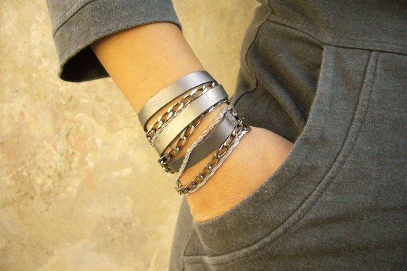 91332f7e34c Leather Silver Wrap Bracelet Women