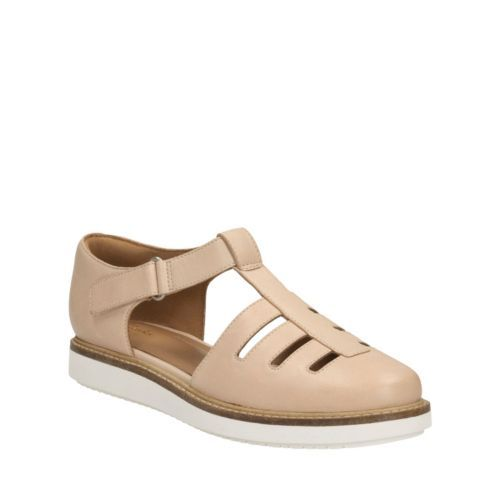 Womens Sandals Clarks Glick Delta Nude Leather