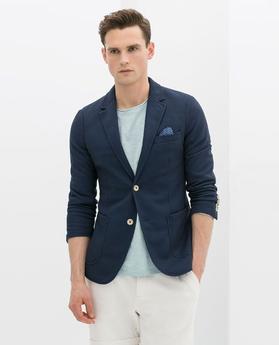 83456472 ZARA NAVY PIQUÉ BLAZER WITH ELBOW PATCHES £79.99 (6861/459) | Men's ...