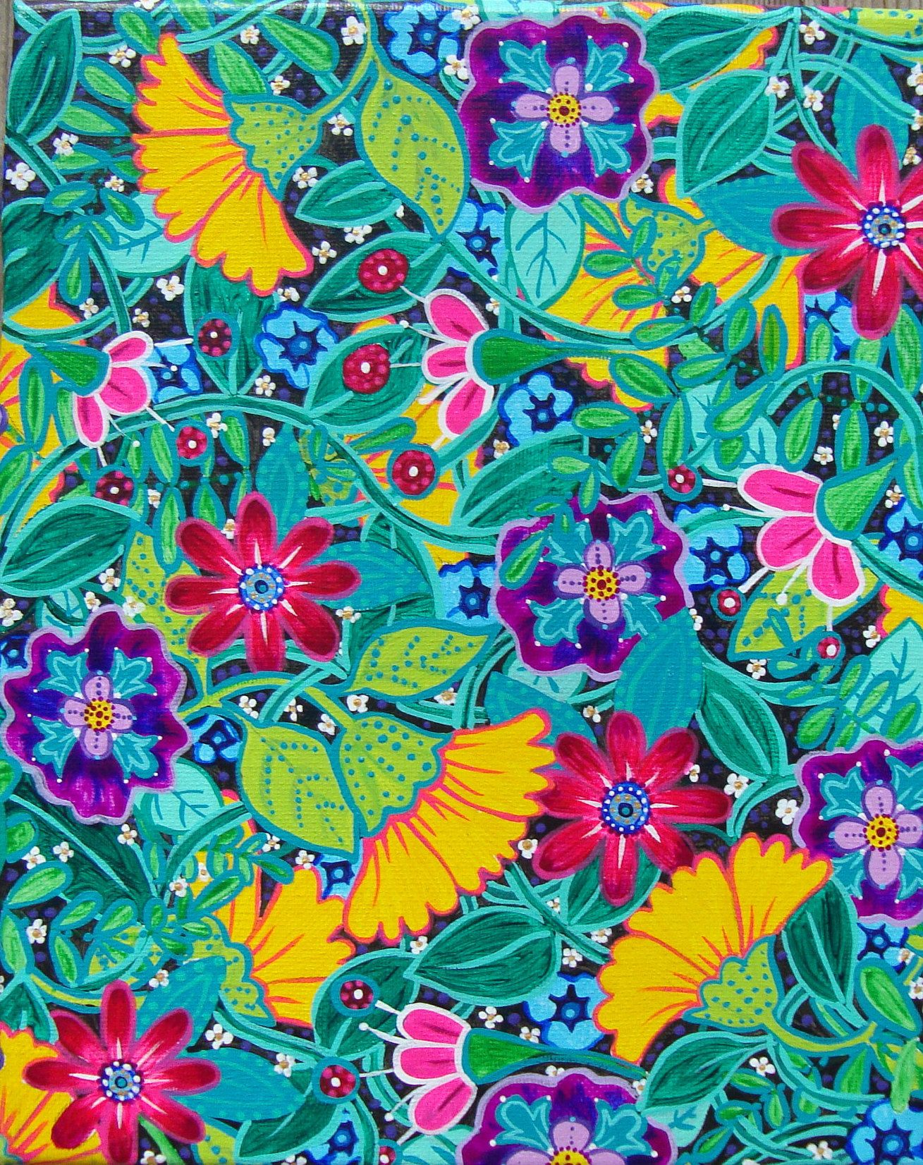 Bright colorful flower art, garden gifts, funky floral painting ...