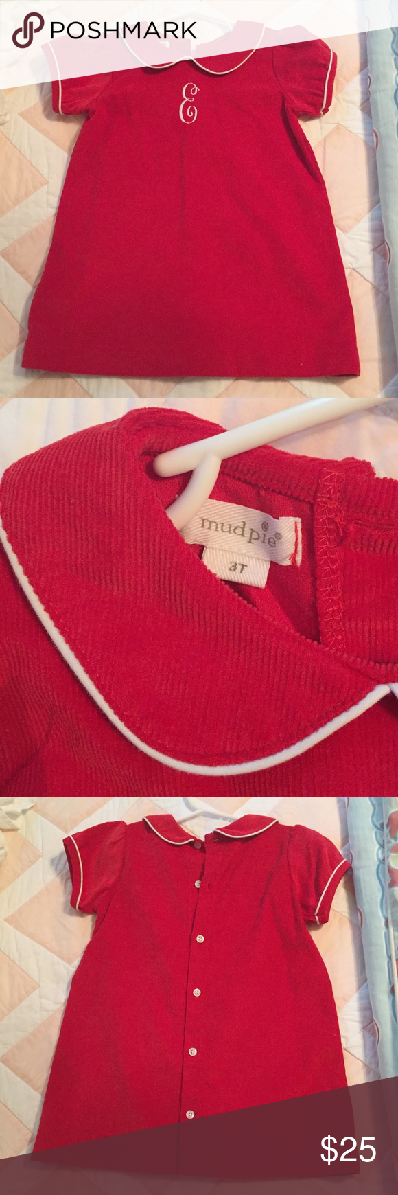 0446891e7 Jurken Mud Pie Baby Girls Red Corduroy Christmas Dress White Piping Peter  Pan Collar