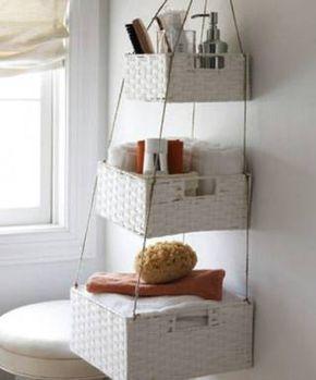 Hanging Baskets Craft Project - 30 Brilliant Bathroom Organization and Storage DIY Solutions