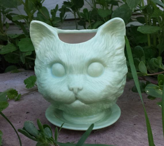 Large Cat head ceramic planter on saucer by SueSueSueCrafts, $24.00