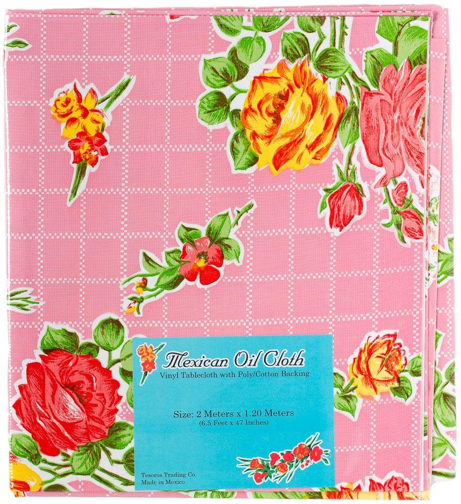 Mexican Oilcloth Tablecloth Pink 20 00 Housewares Tablecloth