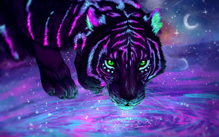 Download wallpapers tiger, fantasy art, predators, wildlife