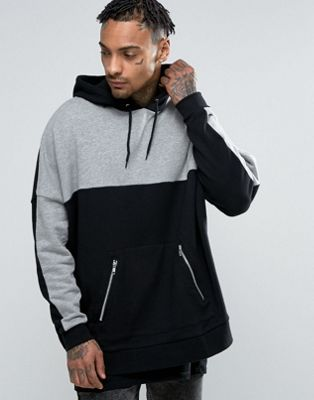 Oversized Hoodie with PU Panel In Black - Black Asos Outlet Sale Clearance Store For Sale DJM7fwJKIc