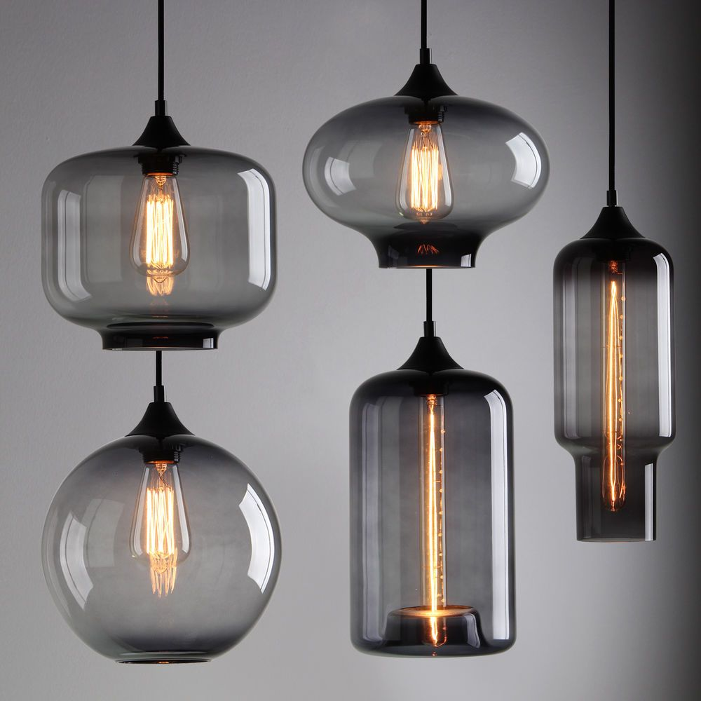 Design Multiple Pendant Lights modern industrial smoky grey glass shade loft cafe pendant light ceiling lamp