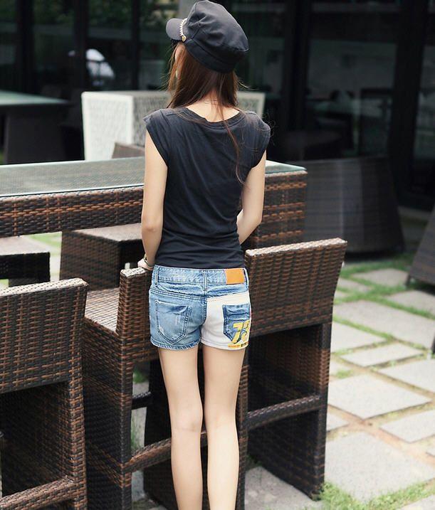 Popular Acid and Stonewashed Number Denim Shorts