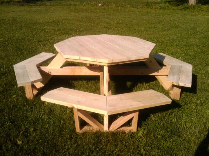 only 2x4s and 2x6s picnic table very octagonny