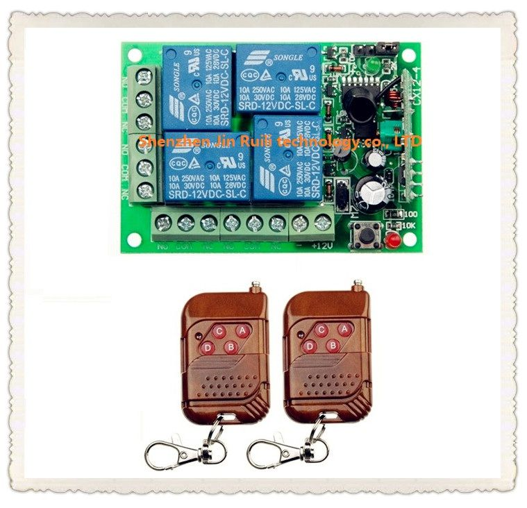 Dc 12v 10a 4 Channel Rf Wireless Remote Control System 1 Piece Receiver 2 Piece Simple And Practical Transmit Remote Control Electronic Accessories Transmitter