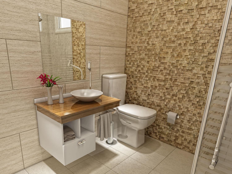 Gabinete Para Banheiro Com Cuba E Espelho 3 Peças Simples 1